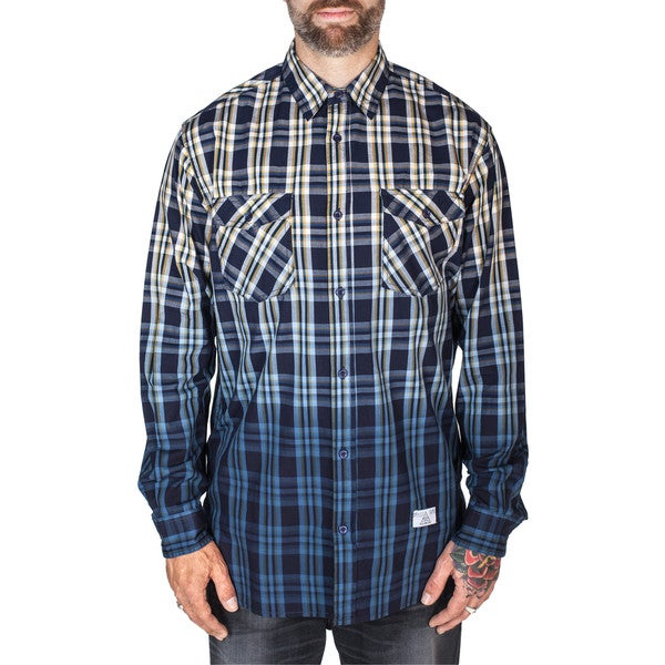 Men's Long-Sleeve Plaid and Dip Dye Shirt