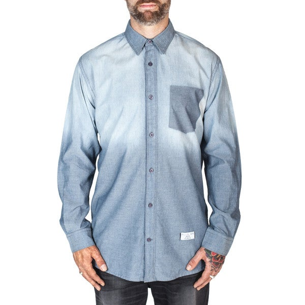 Men's Long-Sleeve Woven Indigo Shirt