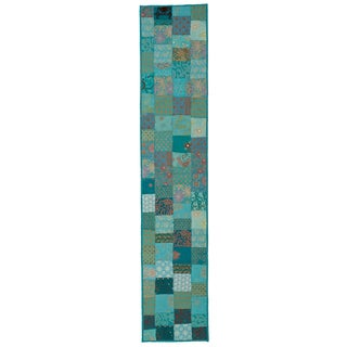 Timbuktu Hand Crafted Turquoise Cotton and Poly Recyled Sari Table Runner