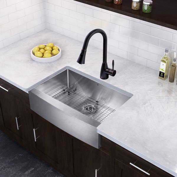 Single Bowl Farmhouse Sink : VIGO 33-inch Farmhouse Single Bowl Kitchen Sink and Aylesbury Kitchen ...