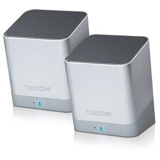 Turcom TS-459 Portable Silver Dual Driver Contemporary Bluetooth Loud Speakers