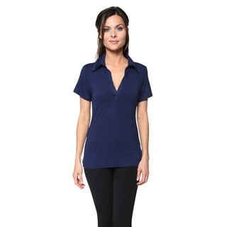 Free to Live Women's Polo Johnny Collar V Neck Short Sleeve Casual Top