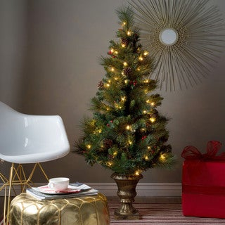 4.5' Pre-lit Pine Cone and Berry Christmas Porch Tree for Indoor/Outdoor use