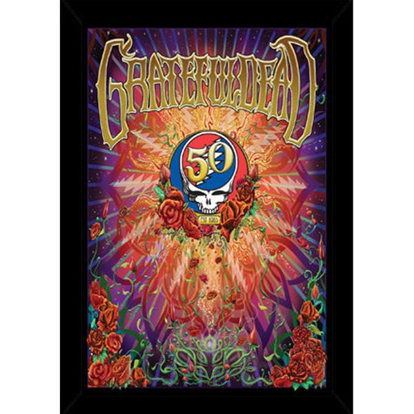 Grateful Dead - 50th Anniversary Print (24-inch x 36-inch) with Contemporary Poster Frame