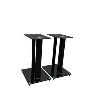 Mount-It! Premium Aluminum and Glass Speaker Stands for Home Theater Satellite Speakers (Black)