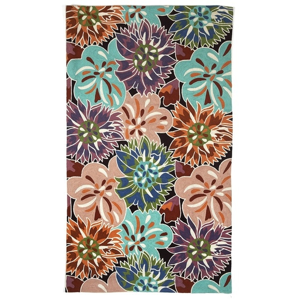 Indo Hand-woven Burtchart Floral Flatweave Area Rug (4' x 6')