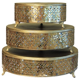 Casa Cortes Handcrafted Mosaic 3-Piece Gold Cake Stand