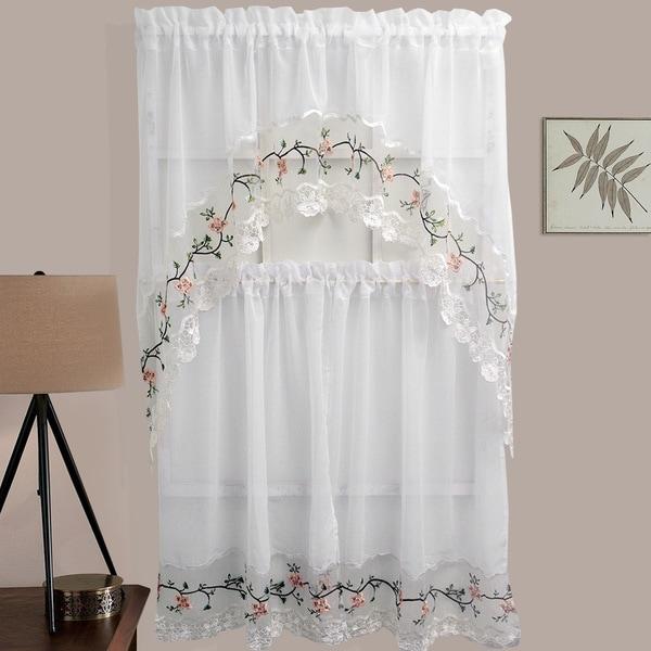 Sheer Rose Garden Embroidered Kitchen Curtain Set