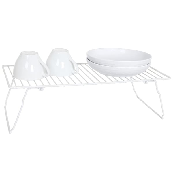 Space Saving Stackable White Kitchen Shelf
