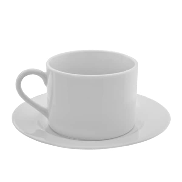 10 Strawberry Street Z-Ware White Porcelain Can Cup/Saucer Set of 6 16388571