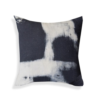 Hand-printed 20-inch Black and White Pillow