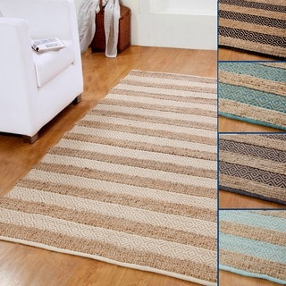 Hand-woven Natural Jute and Cotton Artisan Rug (5' x 8')