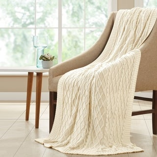 100-percent Cotton Oversized Cable Diamond Knit Throw