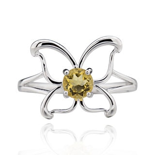 Sterling Silver Round Citrine Butterfly Ring (China)