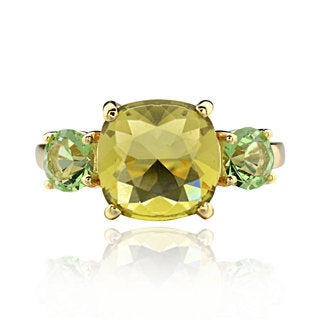 Sterling Silver Goldplated Square Cushion Crystal Ring (China)