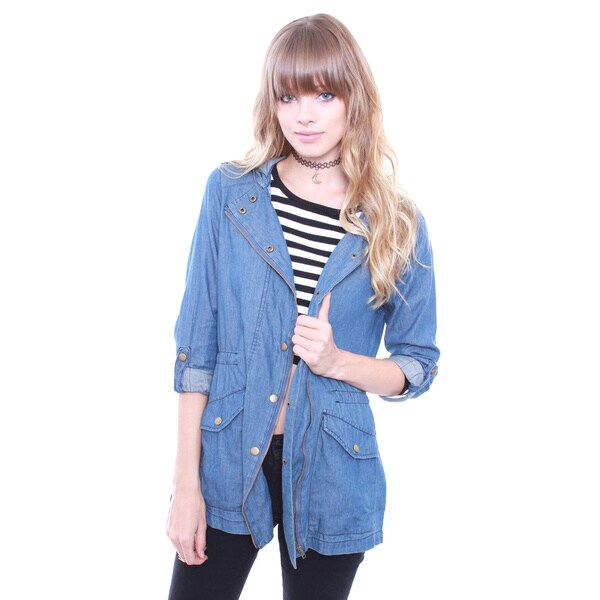 Junior's Chambray 3/4 Roll Up Sleeve Hoodie Jacket J1484