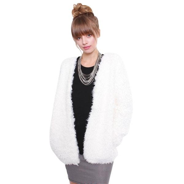 Junior's White Furry Chic Jacket 67994