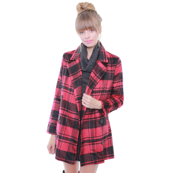 Junior's Red Plaid Oversized Coat 67912