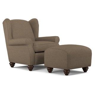 Portfolio Hana Chocolate Brown Linen Wingback Chair and Ottoman Set