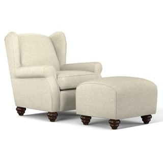 Portfolio Hana Barley Tan Linen Wingback Chair and Ottoman Set