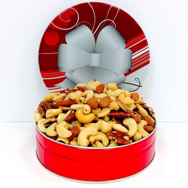 Mixed Nuts in a Holiday Tin