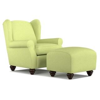 Portfolio Hana Kiwi Green Linen Wingback Chair and Ottoman Set