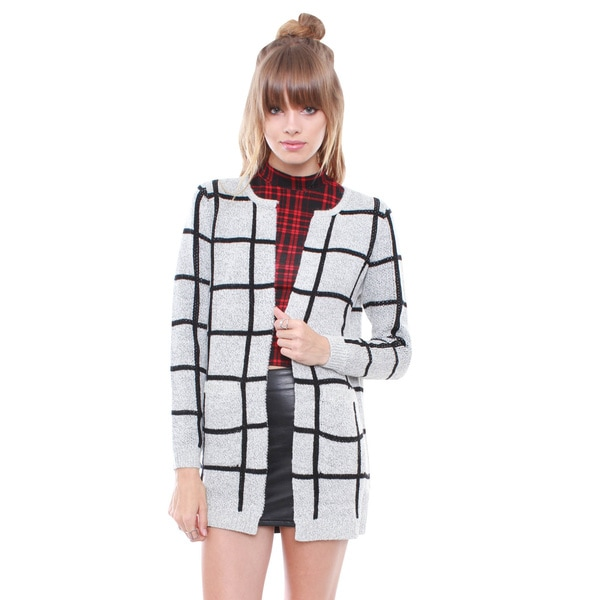 Junior's Chic Grey Windowpane Sweater Cardigan L29262W