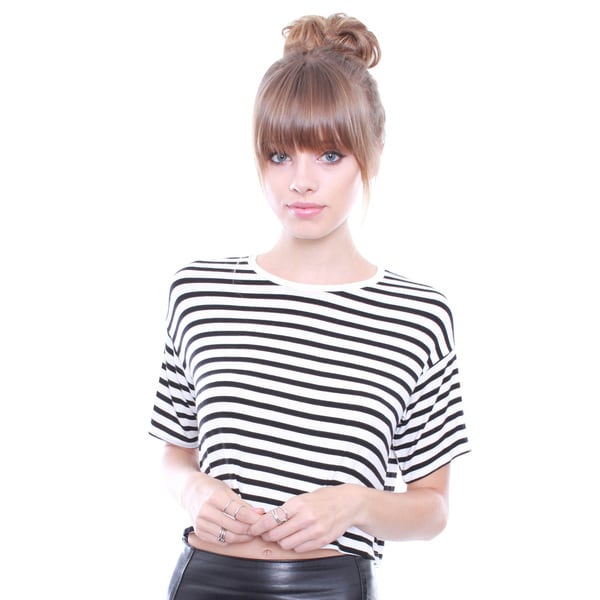 Junior's Black & White Stripe Crop Tee AY14775S
