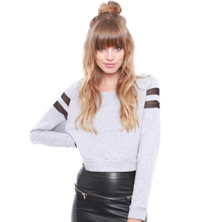 Junior's Sporty Chic Grey Crop Sweat Shirt 67947