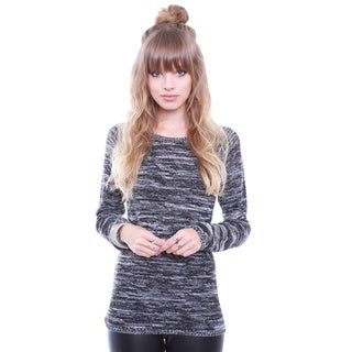 Junior's Charcoal 2 Tone Cozy Sweater 67908