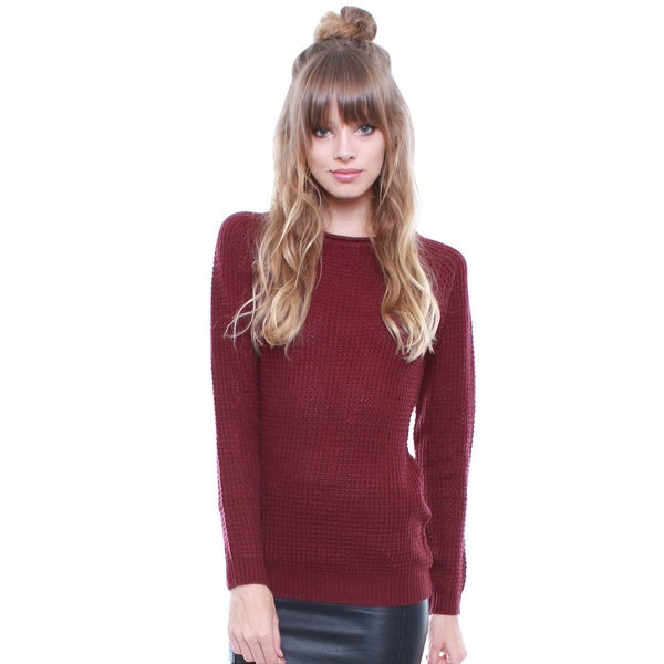 Junior's Burgundy Waffle Cozy Sweater 67907