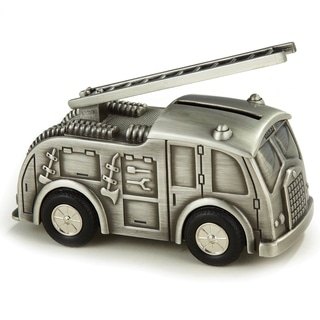 Elegance Fire Truck Money Bank, Pewter Finish