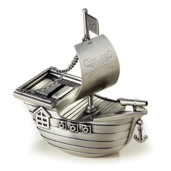 Elegance Pewter Finish Pirate Ship Money Bank