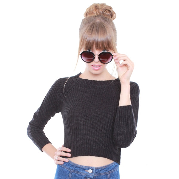 Junior's Hi-Low Crop Sweater 65616