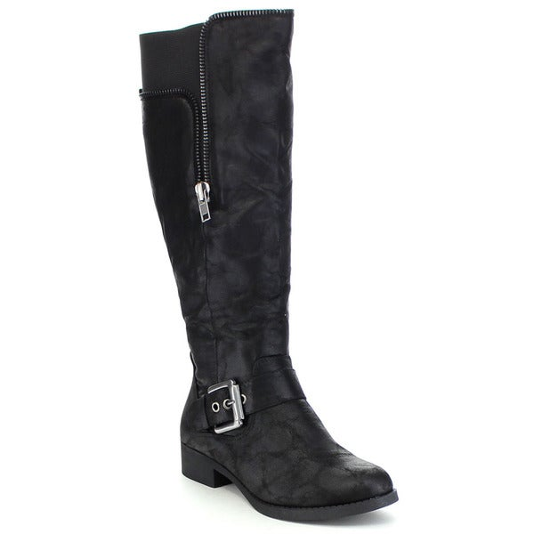 SODA COSSET Women's Bold Buckle Strap Elastic Inset Knee High Riding Boots
