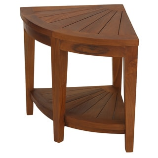 Bare Decor Hanna Corner Spa Stool with Shelf in Solid Teak Wood