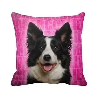 Border Collie Grunge 16-inch Throw Pillow