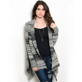 Shop the Trends Women's Long Sleeve Allover Tribal Print Open Front Cardigan