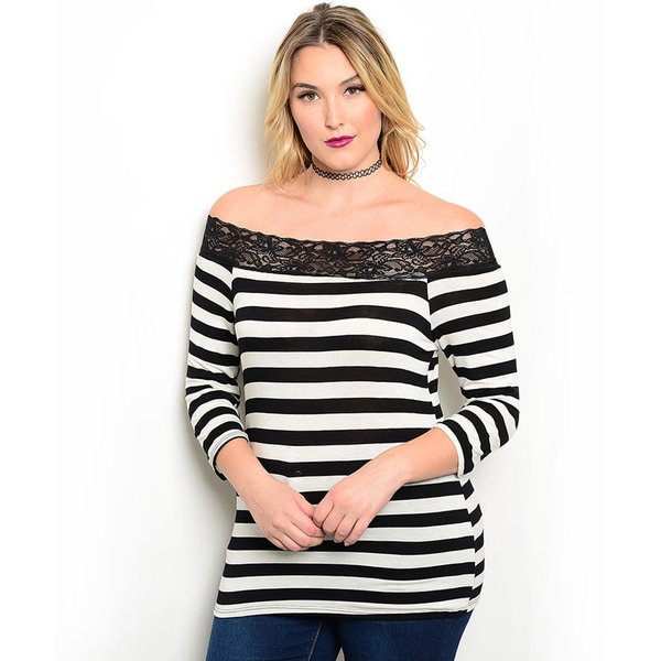 Shop the Trends Women's Plus Size Striped Print Lace Trim Top