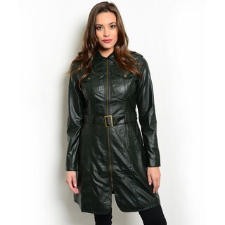 Shop the Trends Women's Long-Sleeve Faux Leather Trench Coat
