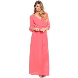 Shop the Trends Women's 3/4-Length Sleeve Woven Maxi Dress