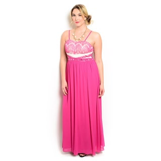 Shop the Trends Women's Plus Size Spaghetti Strap Sweetheart Neckline Gown