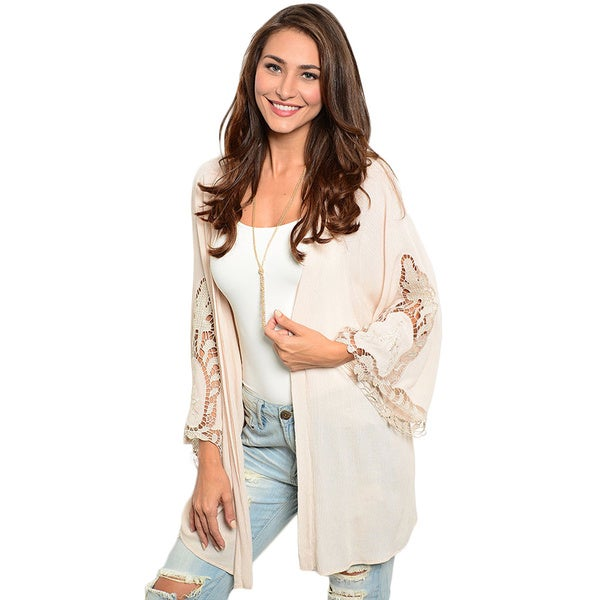 Shop the Trends Women's Long-Sleeve Woven Kimono Cardigan