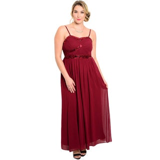 Shop the Trends Women's Plus Size Spaghetti Strap Gown