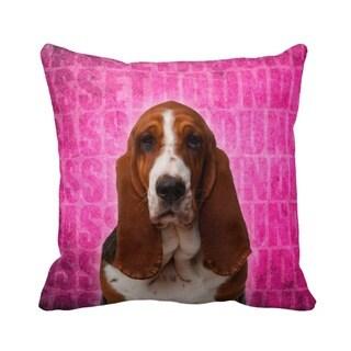 Basset Hound Grunge 16-inch Throw Pillow