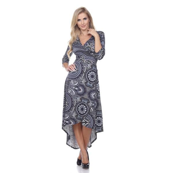 Women's 'Mariah' Grey/ Purple Paisley Wrap Dress