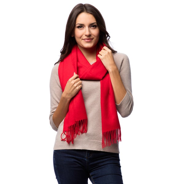 HTC Red Luxury Cashmere Fringe Scarf