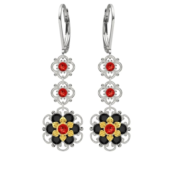 Lucia Costin Sterling Silver Red/ Black Crystal Earrings 16389931