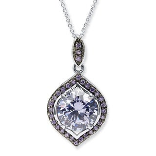 PalmBeach Silvertone and Black Ruthenium-plated 5 2/5ct Round Simulated Amethyst Halo Pendant Color Fun