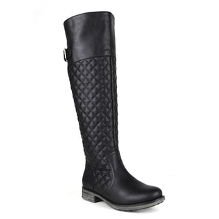 Mark and Maddux women's Emilio-06 Minimalist Buckle and Quilt detailed Women's Knee-High Boot